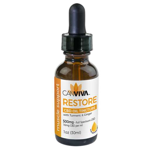 CANVIVA CBD Oil RESTORE Tincture 500mg with Turmeric & Ginger for muscle support