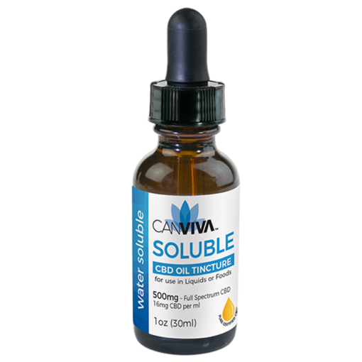 CANVIVA CBD Oil Water SOLUBLE Tincture 500mg with micronized CBD for use in Liquids or Foods