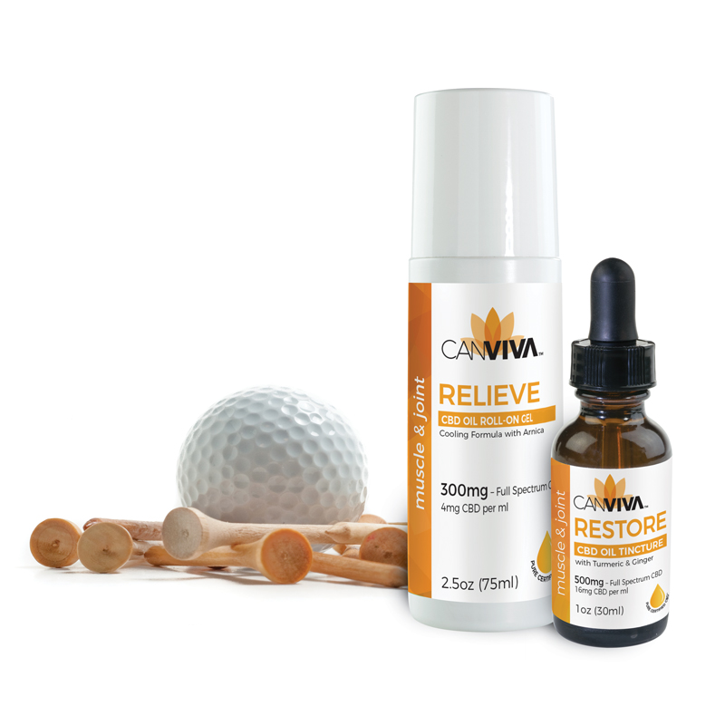 Golf Ball & Tees with RELIEVE & RESTORE CBD
